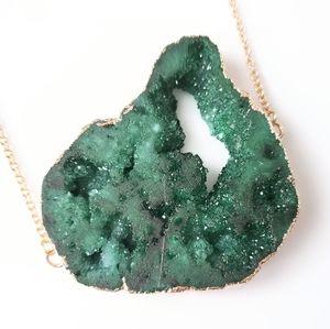 Impressive genuine druzy geode slice necklace